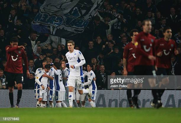 The team of Kobenhavn celebrates after Dame N'Doye of Kobenhavn scored his team's first goal during the UEFA Europa League Group B match between FC...