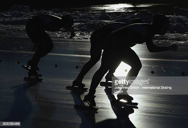 The team of Korea competes in the women team pursuit during day 1 of ISU speed skating junior world cup at ice rink Pine stadium on January 16 2016...