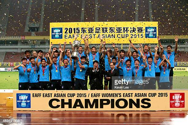 The team of Korea Republic celebrate after winning the EAFF East Asian Cup 2015 final round at the Wuhan Sports Center Stadium on August 9, 2015 in...
