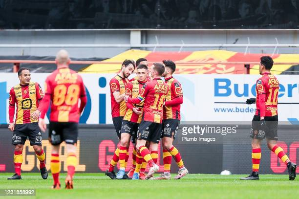 The team of KV Mechelen celebrates after scoring the 1-0 goal during the Jupiler Pro League match between KV Mechelen and OH Leuven at the AFAS...