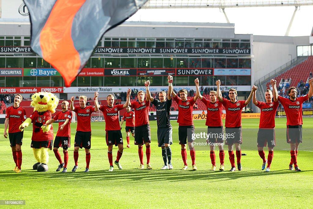 The team of Leverkusen celebrates after the Bundesliga match between Bayer 04 Leverkusen and TSG 1899 Hoffenheim at BayArena on April 20, 2013 in Leverkusen, Germany. The match between Leverkusen and Hoffenheim ended 5-0.