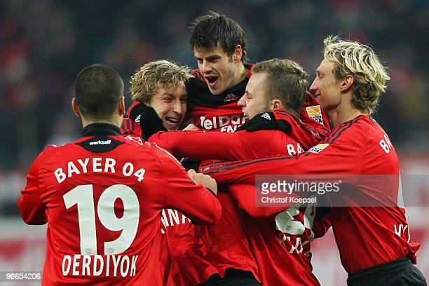 The team of Leverkusen, with Eren Derdiyok, Stefan Kiessling, Tranquillo Barnetta, Michal Kadlec and Sami Hyypiae , celebrates the first goal during...