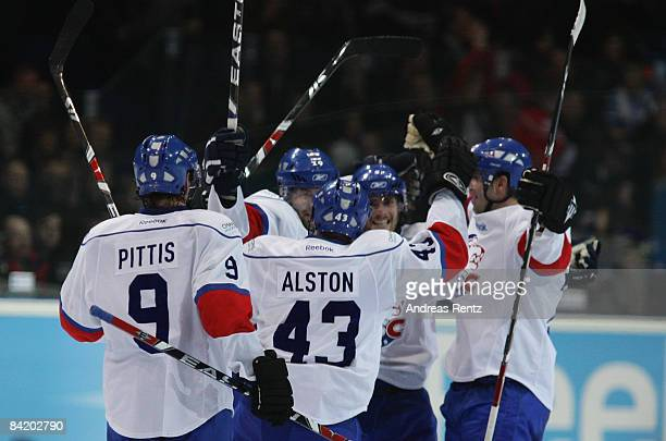 The team of Lions Zurich celebrate after the IIHF Champions Hockey League semi-final match between Espoo Blues and ZSC Lions Zurich at Lansi Auto...