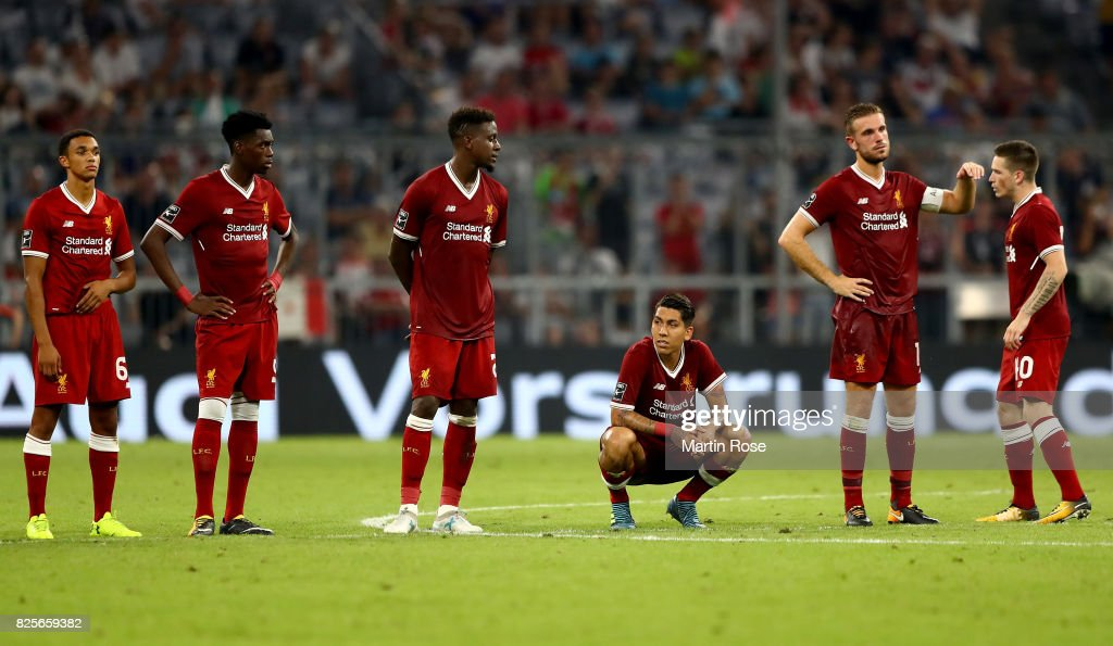 The team of Liverpool looks dejected after the Audi Cup 2017 match between Liverpool FC and Atletico Madrid at Allianz Arena on August 2, 2017 in Munich, Germany.