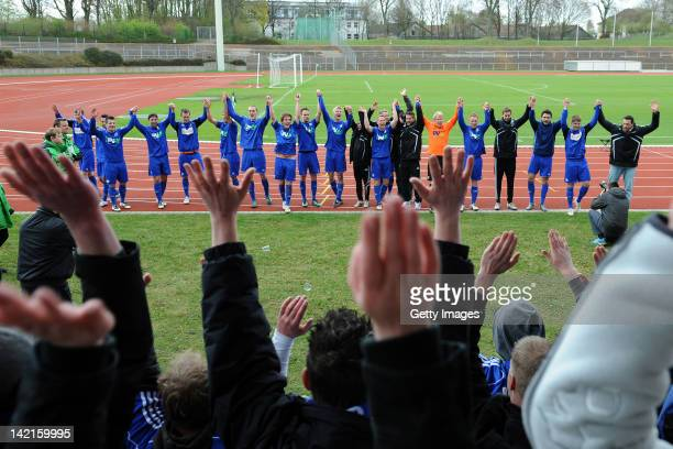 The Team of Lotte celebrate after winning the Regionalliga West match between Borussia Moenchengladbach II and Sportfreunde Lotte on March 31 2012 in...