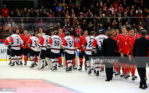 The team of Lulea and of Gothenburg shake hands after the Champions Hockey League final match at Coop Norrbotten Arena on February 3 2015 in Lulea...