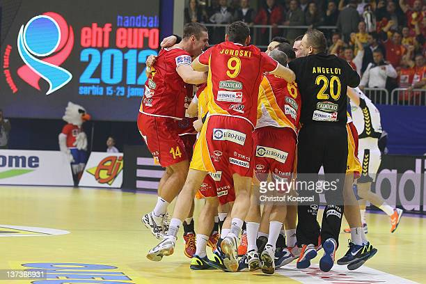 The team of Macedonia celebrates after winning the Men's European Handball Championship group B match between Czech Republic and Macedonia at Cair...