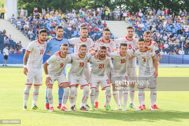 The team of Macedonia line up prior to the UEFA European Under21 Championship match between Serbia and Macedonia at Bydgoszcz stadium on June 20 2017...