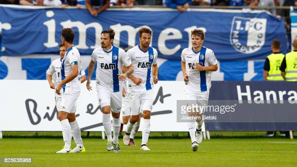 The Team of Magdeburg celebration the goal 12 for Magdeburg during the 3 Liga match between SV Meppen and 1 FC Magdeburg at Haensch Arena on August 1...