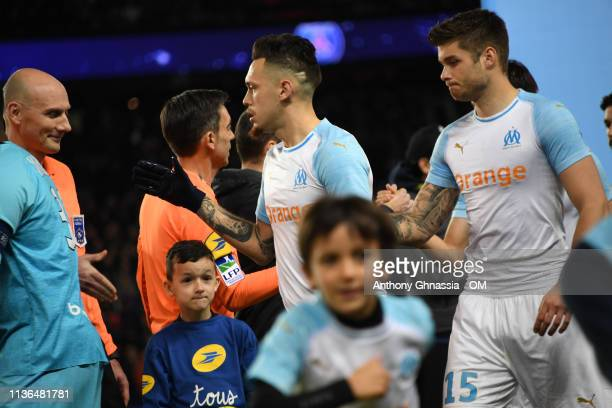 The team of Marseille during the Ligue 1 match between Paris Saint Germain and Olympique de Marseille at Parc des Princes on March 17 2019 in Paris...