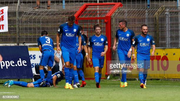 The Team of Meppen celebrate the Gaol 22 for Meppen during the 3 Liga match between SV Meppen and FC Wuerzburger Kickers at Haensch Arena on July 22...