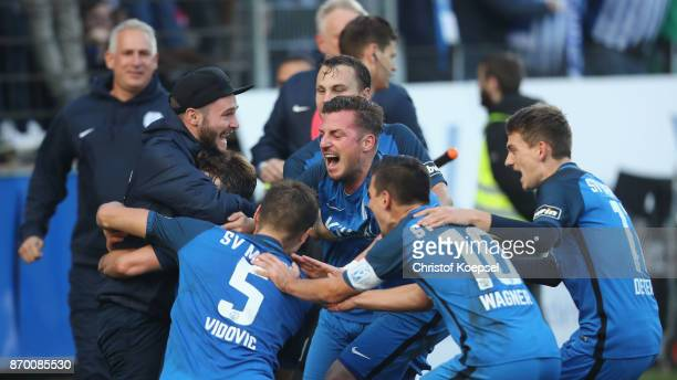 The team of Meppen celebrates the second goal during the 3 Liga match between SV Meppen and Chemnitzer FC at Haensch Arena on November 4 2017 in...