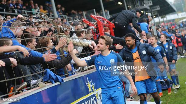 The team of Meppen celebrates with the fans after winning 32 the 3 Liga match between SV Meppen and Chemnitzer FC at Haensch Arena on November 4 2017...