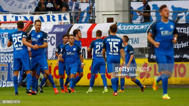 The Team of Meppen celebration the goal 11 for Meppen during the 3 Liga match between SV Meppen and 1 FC Magdeburg at Haensch Arena on August 1 2017...