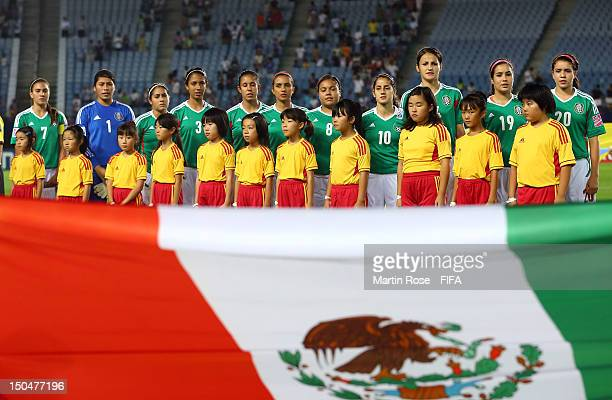 The team of Mexico lines up before the FIFA U20 Women's World Cup 2012 group A match between Japan and Mexico at Miyagi Stadium on August 19 2012 in...
