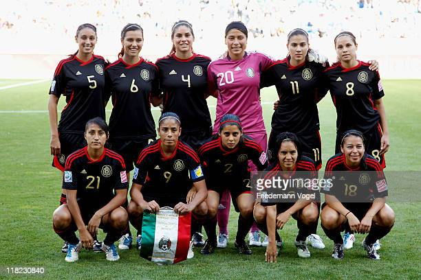 The team of Mexico lines up during the FIFA Women's World Cup 2011 Group B match between New Zealand and Mexico at RheinNeckar Arena on July 5 2011...