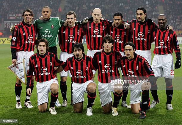 The team of Milan poses before the UEFA Champions League Group E match between AC Milan and Schalke 04 at the Giuseppe Meazza Stadium on December 6...