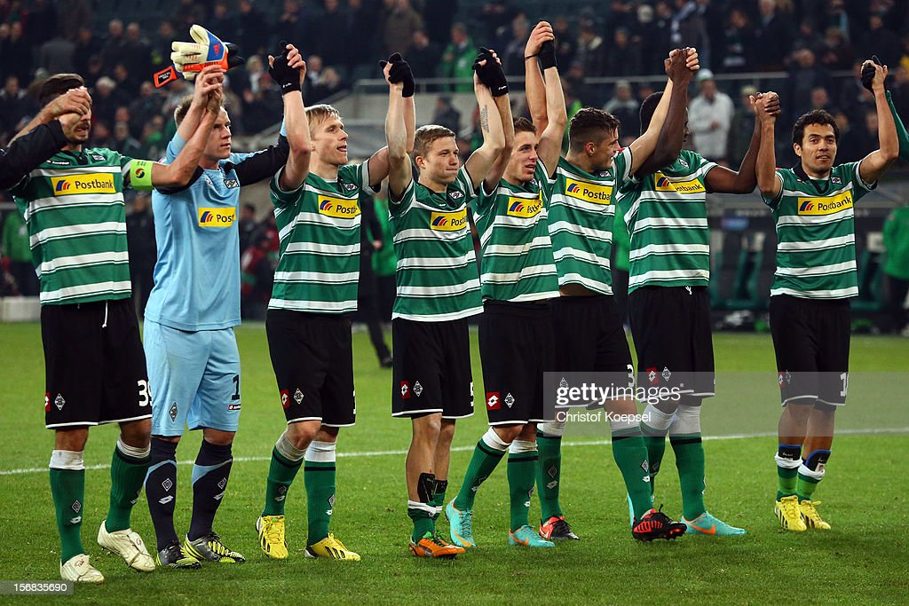 The team of Moenchengladbach celebrates after the UEFA Europa League group C match between Borussia Moenchengladbach and AEL Limassol FC at Borussia Park Stadium on November 22, 2012 in Moenchengladbach, Germany. The match between Moenchengladbach and Limassol ended 2-0.