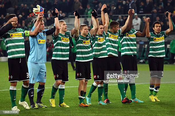 The team of Moenchengladbach celebrates after the UEFA Europa League group C match between Borussia Moenchengladbach and AEL Limassol FC at Borussia...