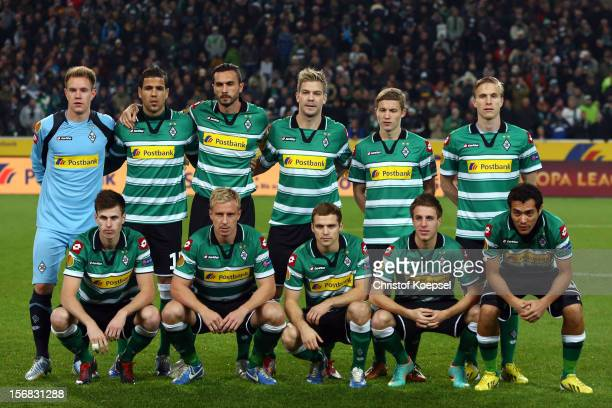 The team of Moenchengladbach poses prior to the UEFA Europa League group C match between Borussia Moenchengladbach and AEL Limassol FC at Borussia...