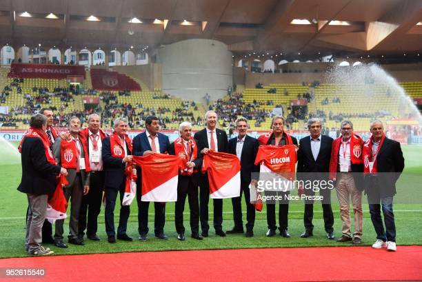 The team of Monaco 1978 french champion with Vadim Vasilyev vice president of Monaco during the Ligue 1 match between AS Monaco and Amiens SC at...