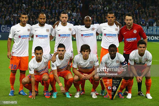 The team of Montpellier poses prior to the UEFA Champions League group B match between FC Schalke 04 and Montpellier Herault SC at Veltins-Arena on...