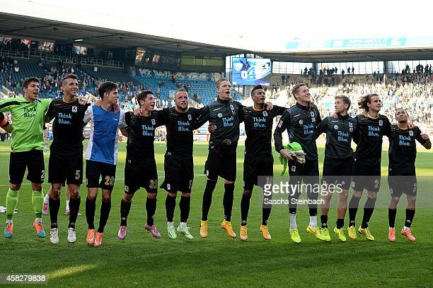 The team of Muenchen reacts after winning their 2 Bundesliga match against VfL Bochum at Rewirpower Stadium on November 2 2014 in Bochum Germany