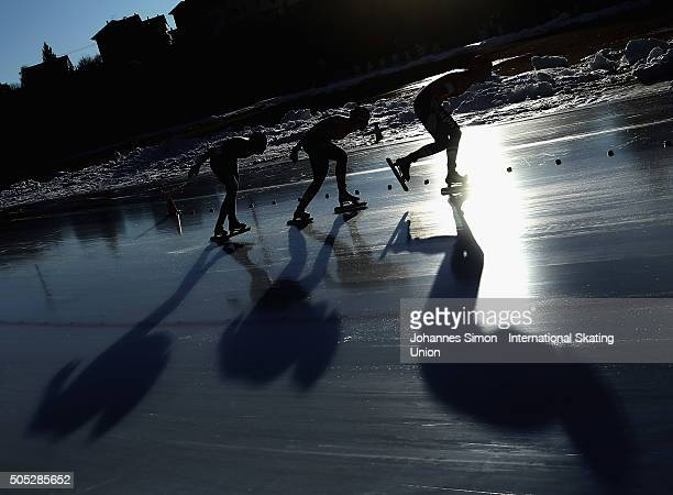 The team of Netherlands competes in the women team pursuit during day 1 of ISU speed skating junior world cup at ice rink Pine stadium on January 16...