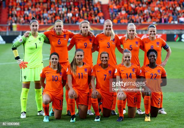 The team of Netherlands line up before during the Group A match between Belgium and Netherlands during the UEFA Women's Euro 2017 at Koning Willem II...