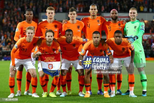 The team of Netherlands line up during the UEFA Euro 2020 qualifier between Netherlands and Northern Ireland on October 10, 2019 in Rotterdam,...