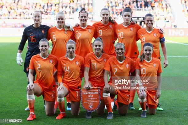 The team of Netherlands line up prior to the International Friendly Women's match between Netherlands and Chile at AFASStadium on April 09 2019 in...