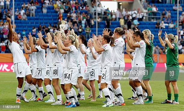The team of New Zealand celebrates after the FIFA Women's World Cup 2011 Group B match between New Zealand and Mexico at RheinNeckar Arena on July 5...