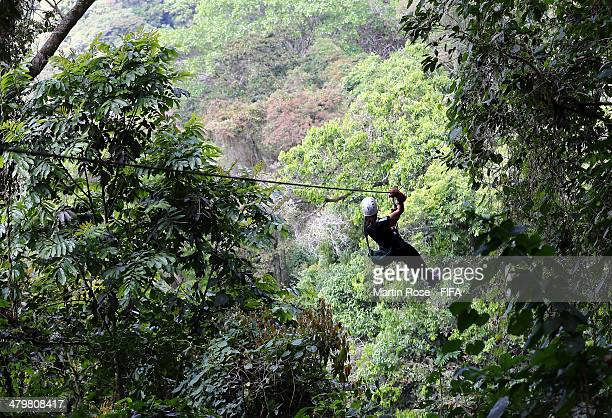 The team of New Zealand enjoys at day at La Carpintera Canopy Tour on March 20 2014 in Alajuela Costa Rica