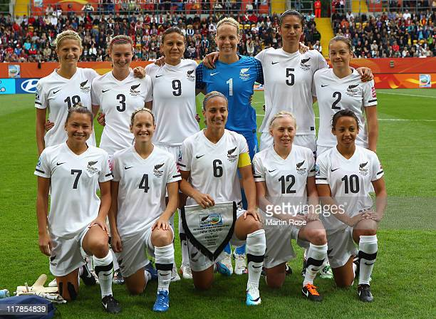 The team of New Zealand line up before the FIFA Women's World Cup 2011 Group B match between New Zealand and England at RudolfHarbigStadion on July 1...