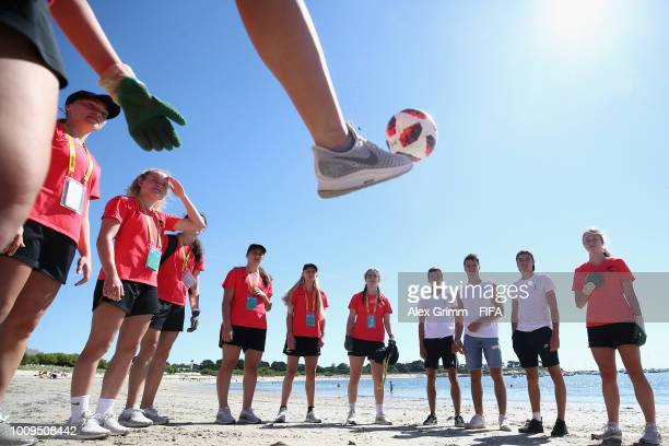 The team of New Zealand plays some football after cleaning up the beach during the FIFA U-20 Women's World Cup France 2018 on August 2, 2018 in...