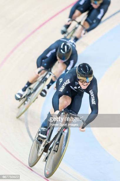 The team of New Zealand with Ethan Mitchell Sam Webster and Edward Dawkins compete in Men's Team Sprint Finals match during day one of the 2017 UCI...
