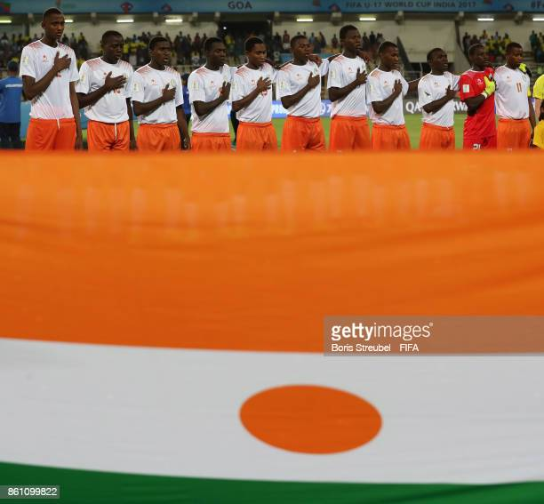 The team of Niger line up during the FIFA U17 World Cup India 2017 group C match between Niger and Brazil at Pandit Jawaharlal Nehru Stadium on...