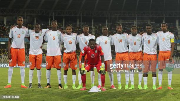 The team of Niger pose for a group picture prior to the FIFA U17 World Cup India 2017 group C match between Niger and Brazil at Pandit Jawaharlal...