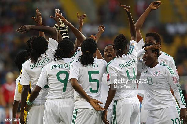 The team of Nigeria lines up before the FIFA Women's World Cup 2011 Group A match between Canada and Nigeria at RudolfHarbigStadion on July 5 2011 in...