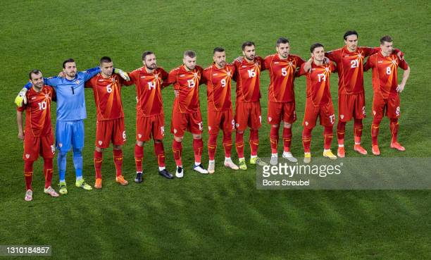 The team of North Macedonia pose prior to the FIFA World Cup 2022 Qatar qualifying match between Germany and North Macedonia on March 31, 2021 in...