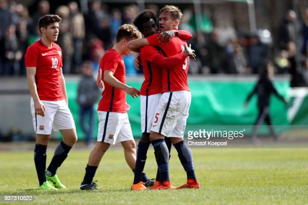 The team of Norway celebrates after the UEFA Under19 European Championship Qualifier match between Germany and Norway at Stadion Grosse Wiese on...