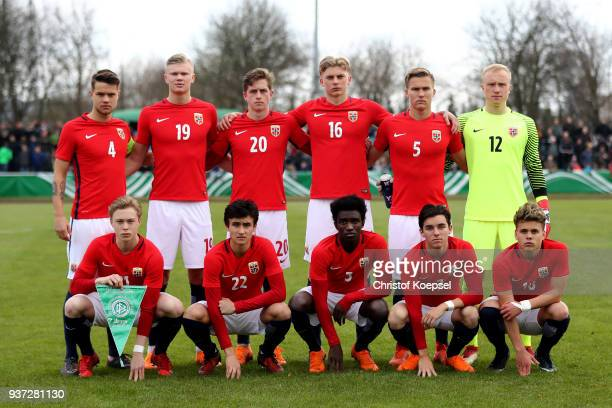 The team of Norway comes together during the UEFA Under19 European Championship Qualifier match between Germany and Norway at Stadion Grosse Wiese on...