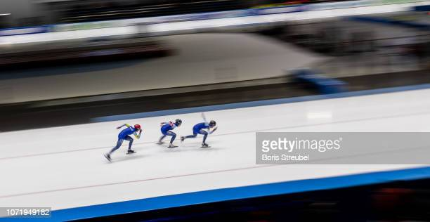 The team of Norway compete in the Women's Team Sprint on day three of the ISU World Cup Speed Skating at Tomaszow Mazoviecki Ice Arena on December 9...