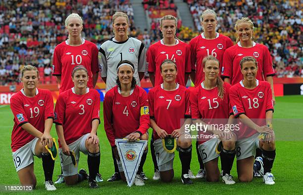 The team of Norway during the FIFA Women's World Cup 2011 group D match between Australia and Norway at the FIFA World Cup stadium Leverkusen on July...