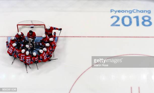 The team of Norway lines up before the Ice Hockey Preliminary Round Group A game between Norway and Italy during day one of the PyeongChang 2018...