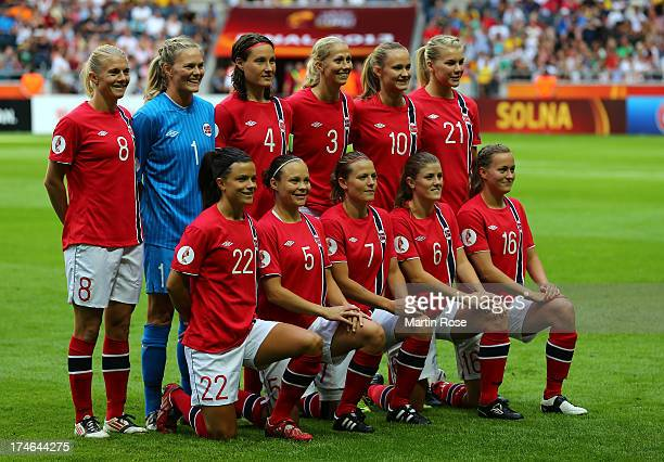 The team of Norway lines up before the UEFA Women's EURO 2013 final match between Germany and Norway at Friends Arena on July 28, 2013 in Solna,...