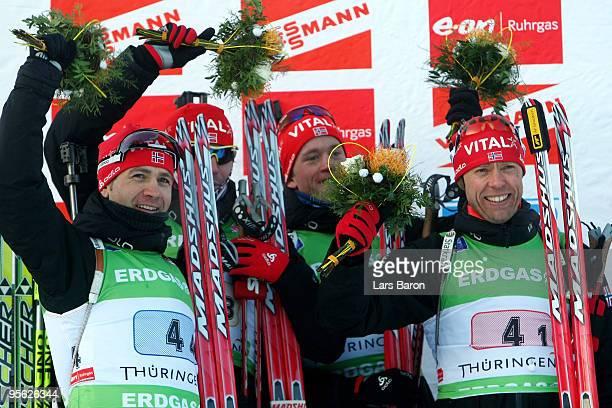 The team of Norway Ole Einar Bjoerndalen, Emil Hegle Svendsen, Tarjei Boe and Halvard Hanevold pose after winning the Men's 4 x 7,5km Relay in the...