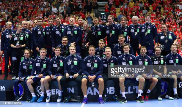 The team of Norway pose with their silver medals after the 26th IHF Men's World Championship final between Norway and Denmark at Jyske Bank Boxen...
