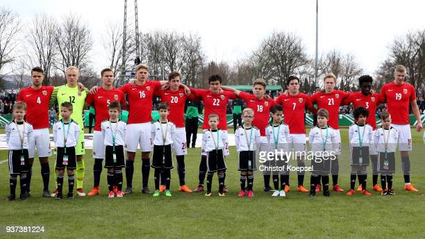 The team of Norway stands for the national anthem prior to the UEFA Under19 European Championship Qualifier match between Germany and Norway at...