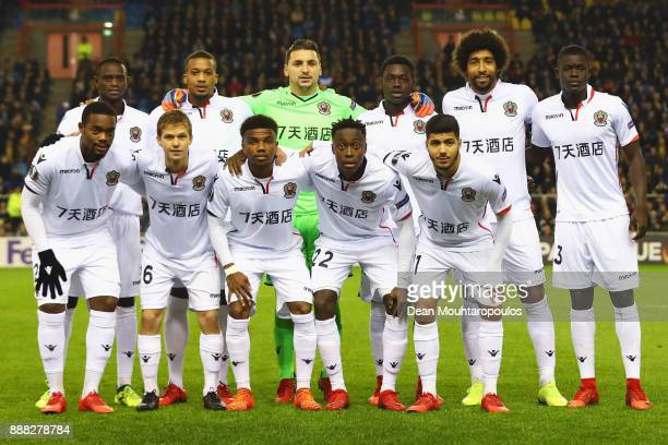 The team of OGC Nice line up during the UEFA Europa League group K match between Vitesse and OGC Nice at on December 7, 2017 in Arnhem, Netherlands.